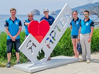 "TsAGI team at ""I Love Artek"" selfi-zone on the background of Adalar"